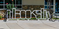 """bike rack at school shaped out to spell """"BOOKS"""""""